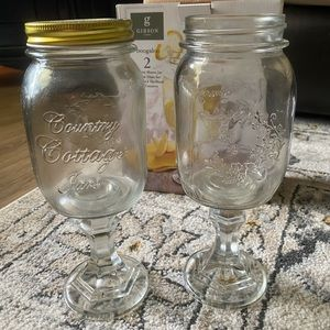 Mason Jar Wine Stem Glass Set | Gibson Home